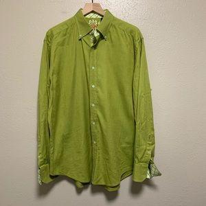 Robert Graham men's green button front shirt